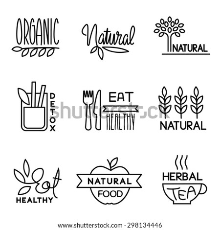 Set of badges and labels elements for organic food and drink - stock vector