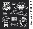 Set of badges and labels. Retro vintage, chalkboard texture style design. certified, premium, the best, the finest quality guaranteed 100%, new recipe, limited edition, most popular. - stock