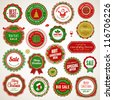 Set of badges and stickers for Christmas and New Year - stock