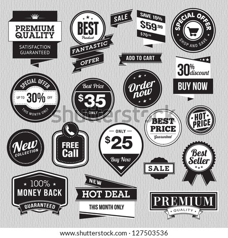 Set of badges and stickers for sale - stock vector