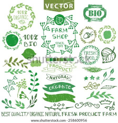 Set of badges,labels,logo,floral elements,wreaths and laurels.Organic,bio,natural design template.Hand drawing painting.Vintage vector.Green Logotype maker - stock vector