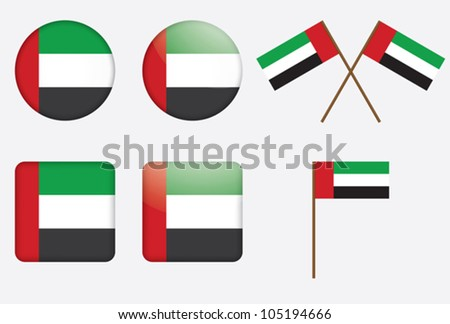 set of badges with the United Arab Emirates flag - stock vector