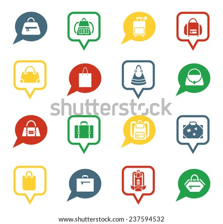 Set of bag icons.  White silhouettes of different bags  in speech bubbles for app.  Vector illustration - stock vector