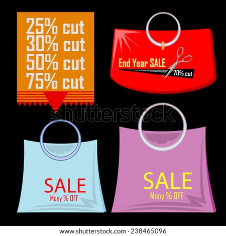 set of bags and discount label isolated on black - stock vector
