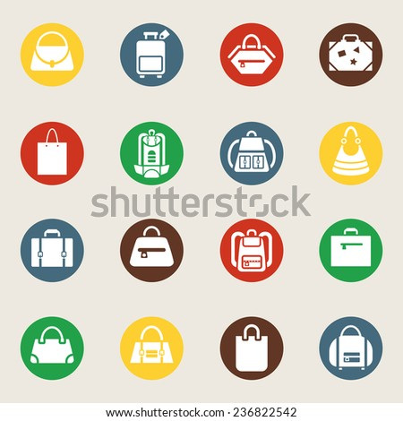 Set of bags and luggage icons. White silhouettes of different bags in colorful circles. Vector illustration - stock vector