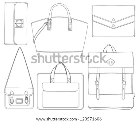 Set of bags. Different shapes of bag. Vector illustration. Bag icon - stock vector