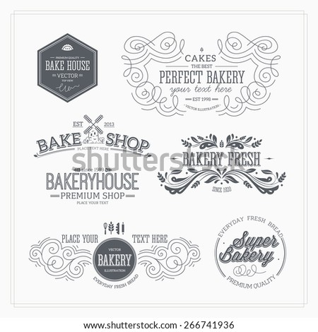 Set of bakery and bread logotypes. Vector illustration - stock vector