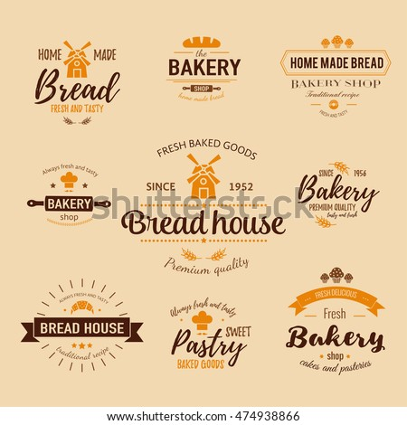 Set Of Bakery Badges With Bread Pastry Icons And Design Elements