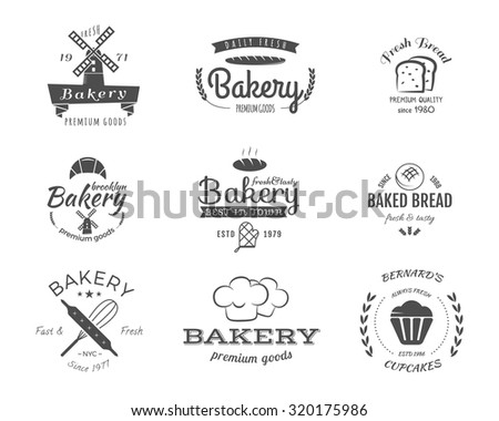 Set of bakery labels, icons, badges and design elements, symbols. Fresh bread, cakes logo templates. Monochrome vintage style. Cupcake emblem. Can be use for cafe, shop. Vector illustration