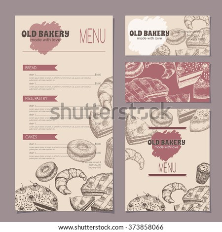 Set of bakery shop templates with menu, visit cards and reserved card, includes hand drawn sketch of apple pie, black forest cake, muffin, doughnut and croissant. Ready to use artwork. - stock vector