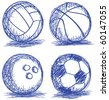 set of ball doodle - stock vector