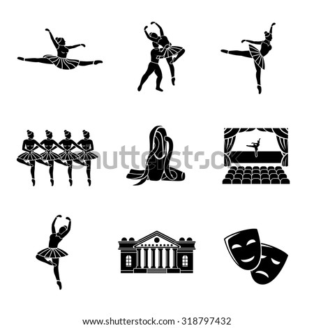 Set of Ballet monochrome icons with - ballet dancers, swan lake dance, stage, theater building, masks. Vector - stock vector