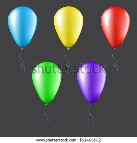 Set of balloons isolated on dark background