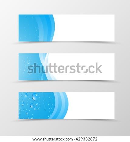 Set of banner blue design. Blue banner for header with drops. Design of banner in blue wave style - stock vector