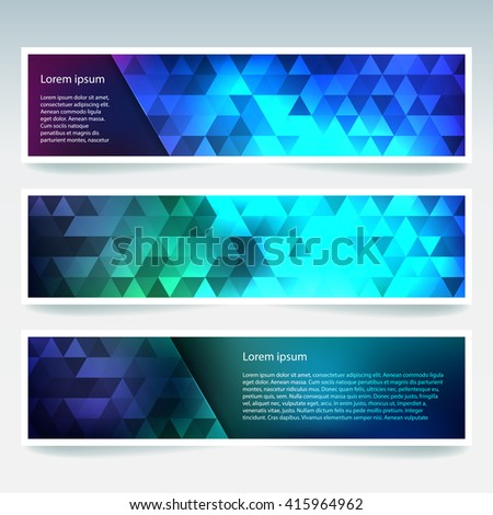 Set of banner templates with abstract background. Modern vector banners with polygonal background. Blue, green colors.  - stock vector