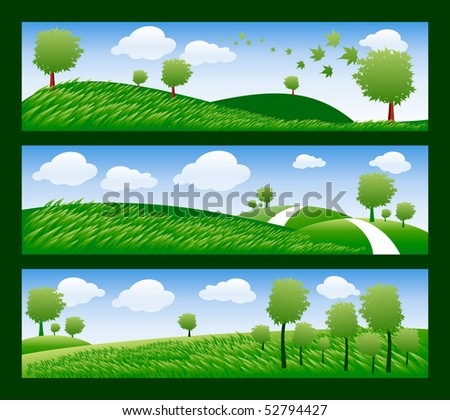 set of banner with ecology trees and sky - stock vector