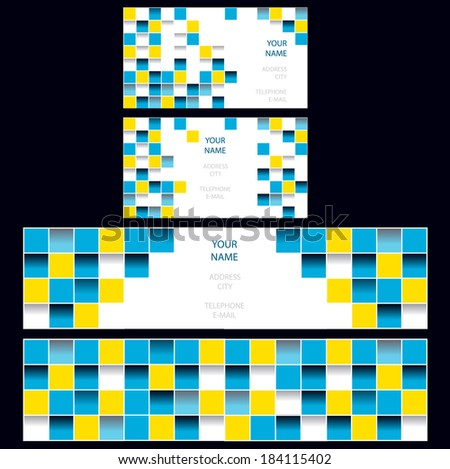 set of banners and business cards with glossy mosaic tiles and place for your text - stock vector