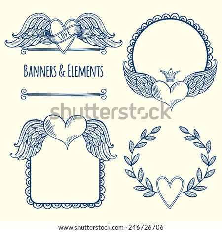 Set of banners and elements with hearts. Happy Valentine's Day! - stock vector