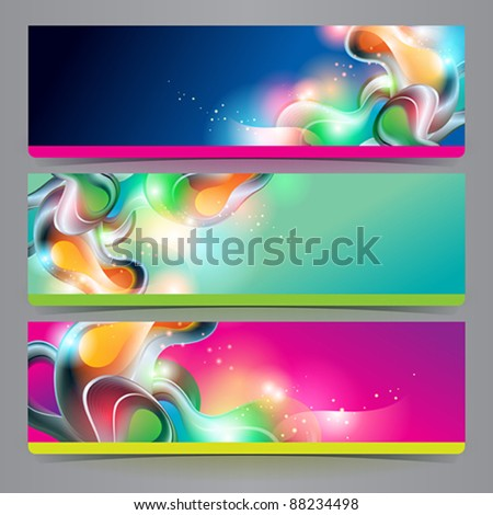 Set of banners and headers with abstract shining forms. Vector illustration. - stock vector