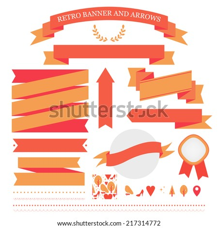 Set of Banners, Arrows, Labels and Ribbons. Web design vector elements. - stock vector