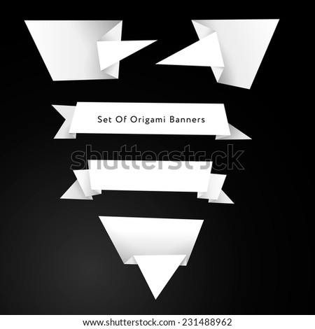 Set of banners in origami style - stock vector