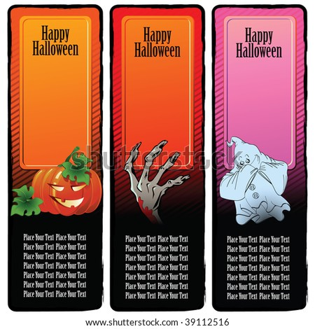 Set of banners on a holiday theme halloween for registration and design - stock vector