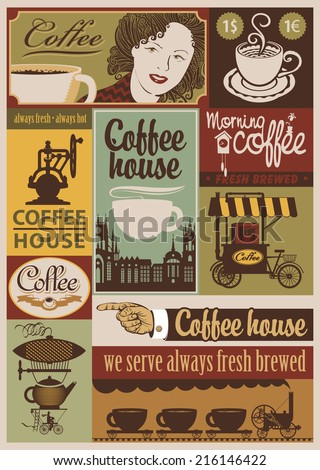 set of banners on the theme of coffee in retro style - stock vector