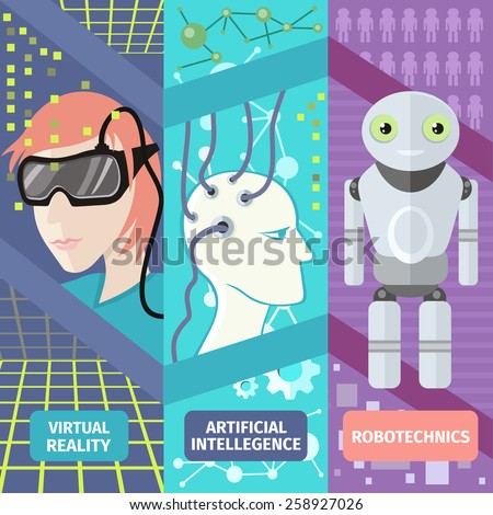 Set of banners virtual and augmented reality gadgets, people wearing head-mounted displays, brain is connected to the network. Artificial intelligence, reality virtual and robotechnics in flat design - stock vector
