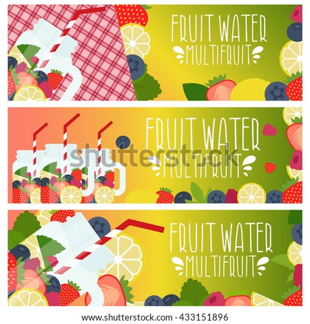 Set of banners with bright fruit water in mason jar with strawberries, raspberries, lemons, blueberries, raspberries .Vector illustration