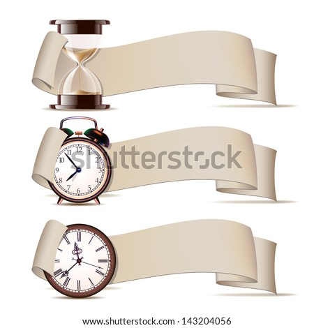 Set of banners with clocks. Vector illustration - stock vector