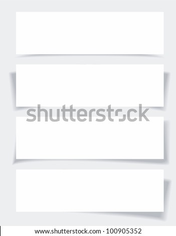 Set of banners with different shadows. - stock vector