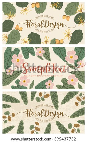 Set of banners with floral backgrounds 2 - stock vector