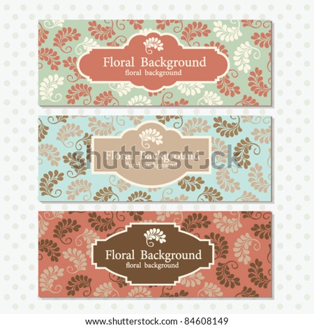 set of banners with floral backgrounds - stock vector