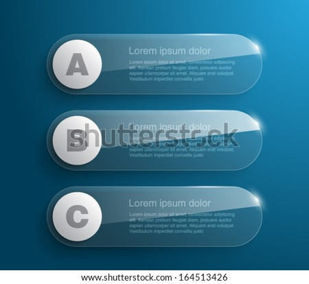 Set of banners with glossy / glass style design for business, report, number options, infographic, step presentation, background, workflow layout or web. Clean and modern, vector illustration eps 10 - stock vector