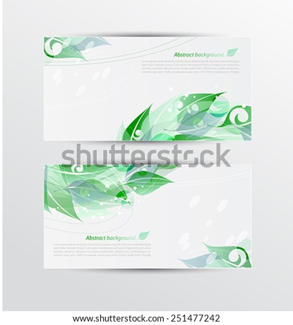 Set of banners with green leaves - stock vector