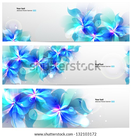 Set of banners with light blue abstract flowers. Floral card - stock vector