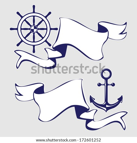 Set of banners with marine icons. Vector Illustration.