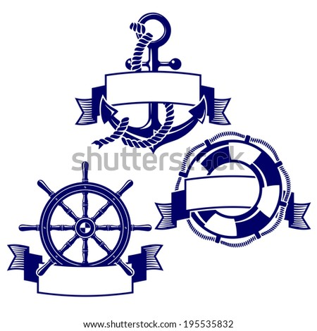 Set of banners with marine icons. Vector Illustration. - stock vector