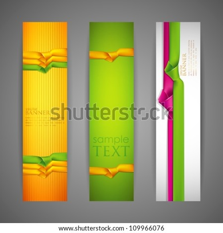 set of banners with multicolored ribbons - stock vector