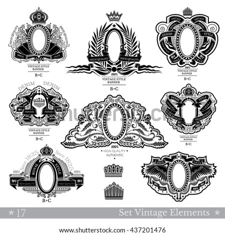 Set Of Banners With Oval Frames Between Different Line Pattern And Ribbon - stock vector