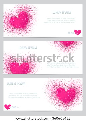 Set of banners with pink blurred heart. Pink heart with confetti. Vector template for lovely design, card, invitation, vip, flyer, voucher, certificate, tag, web, header. Valentine's Day cards. - stock vector