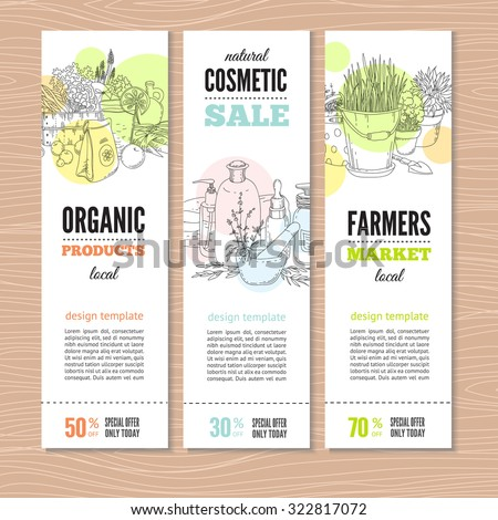 Set of banners with plants, organic cosmetic and garden tools. Perfect design for farm market advertising and bio product business. Modern business identity for bio products and agricultural industry. - stock vector