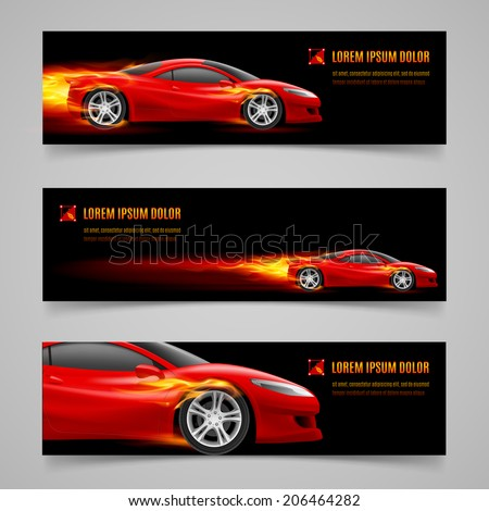 Set of banners with racing car in orange flame - stock vector