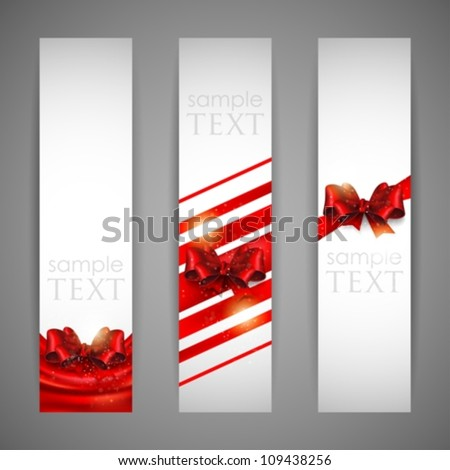 set of banners with red bows and ribbons - stock vector