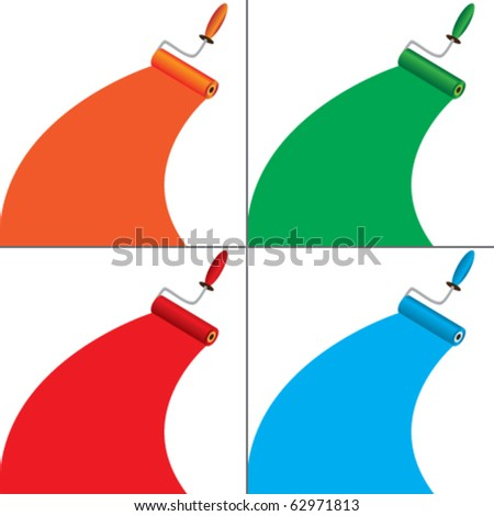 Set of banners with roller brush - stock vector