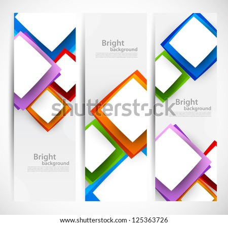 Set of banners with squares - stock vector