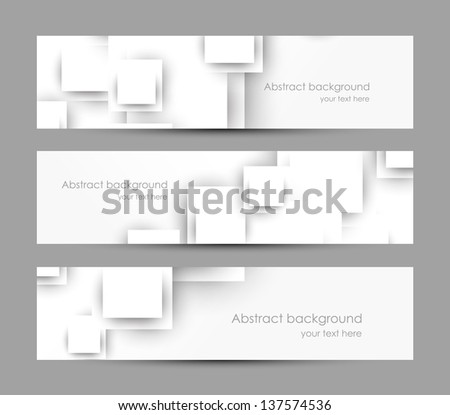 Set of banners with white squares - stock vector