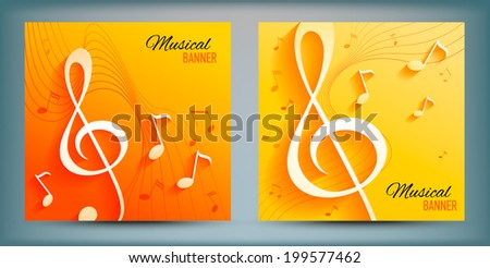 Set of banners with with music notes and key. Vector illustration.