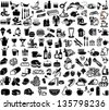 Set of bar and supermarket symbols - stock vector