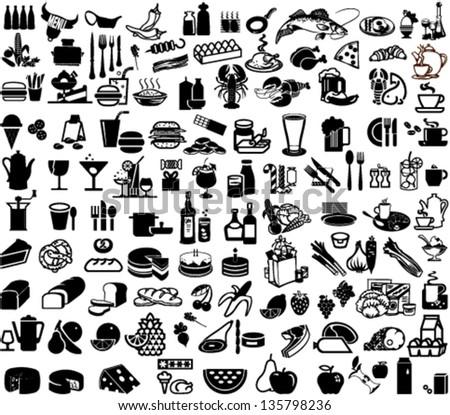Set of bar and supermarket symbols - stock vector